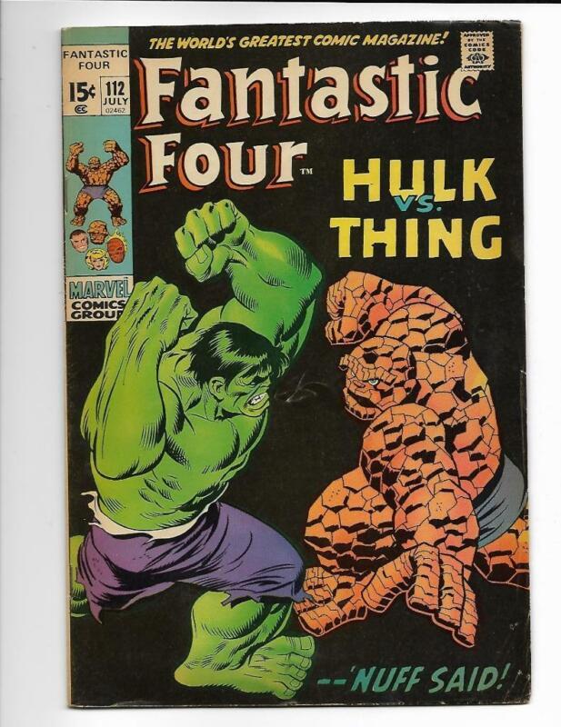 Fantastic Four 112 Hulk Thing Kirby Lee Marvel Nice FREE SHIP