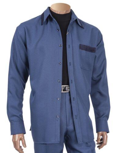 Men 2 piece walking suit Inserch Long Sleeves Slacks Set Houndstooth 144 Navy