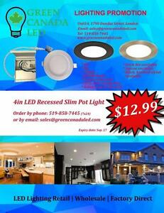 4'' LED Slim Panel / Recessed light Dimmable 9W = 60W, cUL -I C Rated - 5 Years Warranty - 12.99 $ with Free shipping