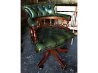 Green leather Chesterfield Captains chair