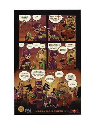Mike Maihack SIGNED Supergirl & Batgirl Cartoon Comic Art Strip Print Halloween