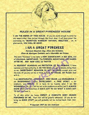Rules In A Great Pyrenees' House