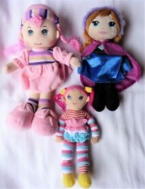 Disney and other soft toy dolls bundle inc Anna from Frozen.