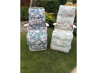 2 garden metal & fabric relaxer chairs