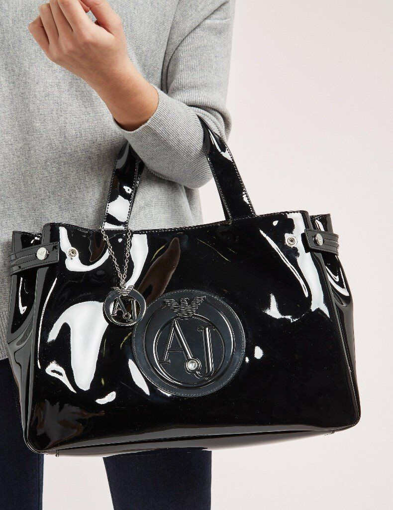 Armani jeans large patent tote bag in black brand new genuine MUST GO ASAP eec29ca362