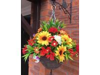 Autumn winter silk flower hanging basket