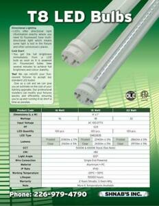 LED T8 4ft tube bulbs, 1 box 30 pcs (FREE SHIPPING CANADA WIDE)
