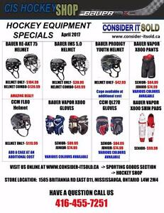 INCREDIBLE DEALS ON BRAND NEW HOCKEY EQUIPMENT SEE OUR FLYER