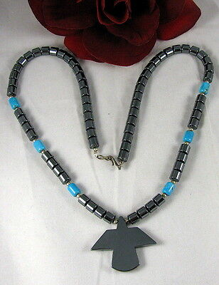 Hemtite & Faux Turquoise Bird Necklace CAT RESCUE
