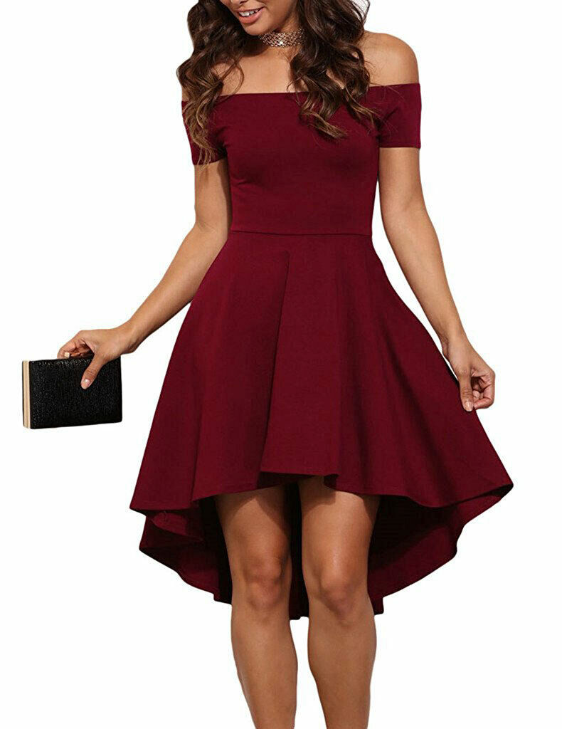 Fashion Women Short Sleeve Off Shoulder Evening Party Asymmetric Dress US FAST Clothing, Shoes & Accessories