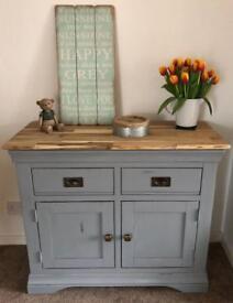 Hardwood oak sideboard, storage unit, dresser, anthracite grey