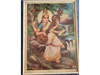 Goddess Saraswati large framed picture