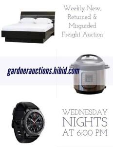 Every Wednesday Night at 6:00 PM Online Auction of New, Returned & Misguided Freight