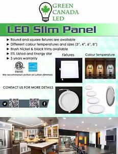 4'' LED Slim panel / Recessed Pot light Dimmable 9W = 60W, cUL - IC Rated - 5 Years Warranty - 15.50$ with Free shipping