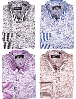 Men's Cotton Blend Double Collar Floral Design Casual Dress - Double Collar Dress