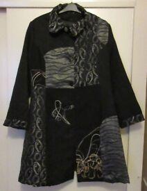 Samya Coat 22/24 Stunning Unusual Black Silver Patchwork