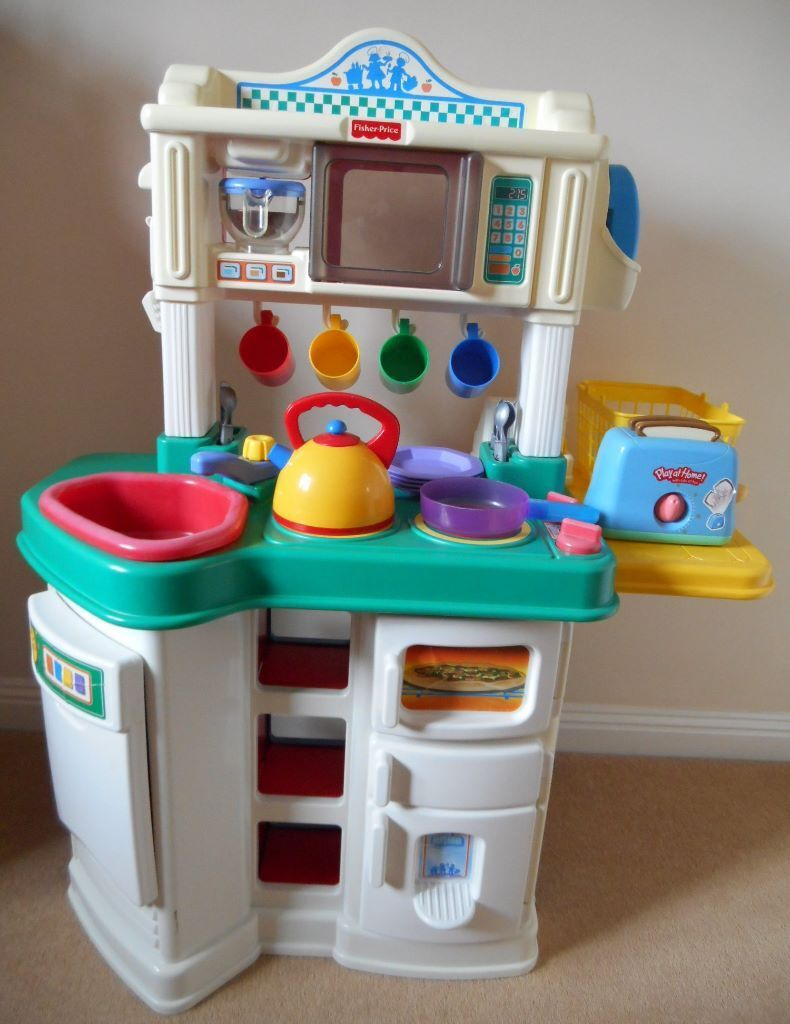 Charming Fisher Price Kitchen Play Set And Box Of Accessories For Toddlers Or Small  Children