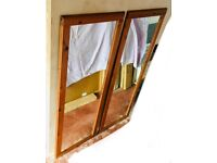 2 MATCHING RECTANGLE LONG SOLID WOOD PINE MIRRORS FOR SALE