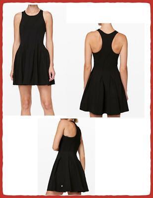 LULULEMON COURT CRUSH TENNIS DRESS BLACK SIZES 8, 10, OR 12 W/GIFT BAG NWT $128