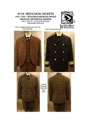 Men's Sack Jackets 1860-1900 Size 34-58 Laughing Moon Costume Pattern 116](Moon Man Costume)