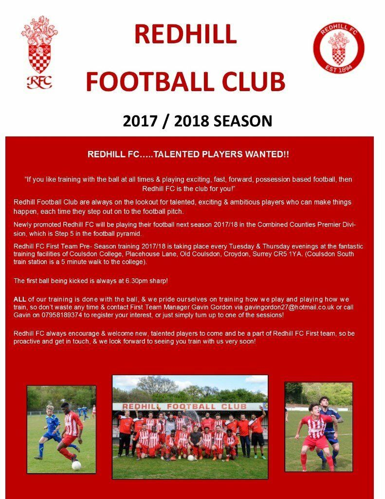 REDHILL FC 1st Team Trials TONIGHT 20/6/17 6.30pm start....Talented Players Welcome.