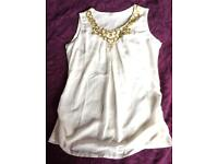 Stunning white & gold vest top size 12 like New