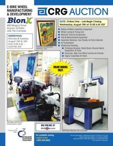 BionX Canada Inc. Online, Timed Auction ending August 15th, Aurora,ON. E-Bike Wheel Mfg & Dvlpmt Plant, Corporate Office