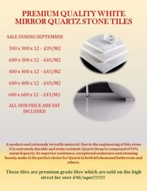 Premium Quality White Mirror Quartz Stone Tiles