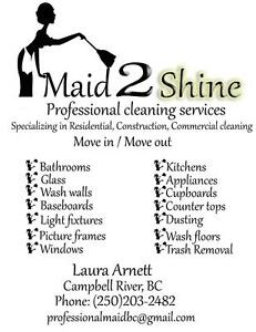 MAID 2 SHINE PROFESSIONAL CLEANING SERVICES Campbell River Comox Valley Area image 1
