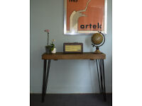 Rustic Chunky Industrial Console Table Mid Century Modern Style Table