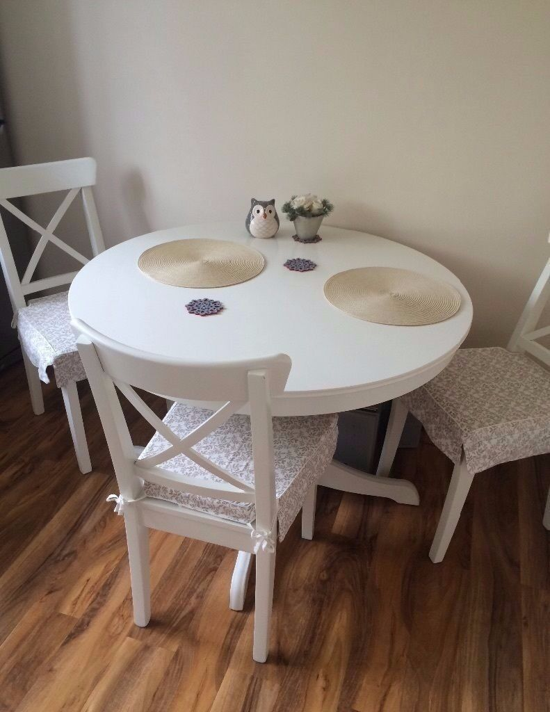 Lovely Ikea Ingatorp Extendable Table White With 4 Chairs