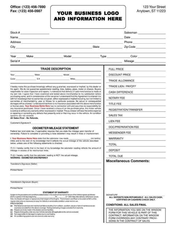 100 Custom Used Vehicle Automotive Bill Of Sale / 2 Part / 8.5 x 11 TMG010