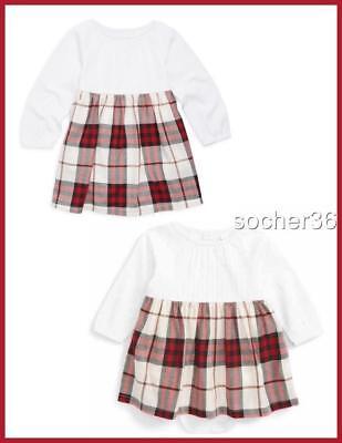 BURBERRY INFANT GIRLS' JAINE DRESS/BODYSUIT CRIMSON RED SIZE 18 MONTHS NWT $195
