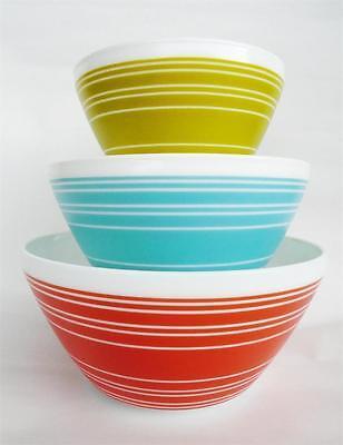 6-pc PYREX Vintage Charm MEMORY LANE Mixing Bowl Set *Olive Teal Salmon TERRA