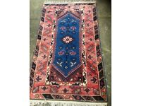 Turkish Rug - vibrant colours and geometric patterns, hand-knotted and purchased from John Lewis