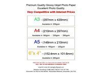 "Glossy Inkjet Photo Paper A3, A4, A5 & 6""x 4"" - 180, 230 & 260gsm"