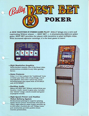 BALLY GAMING BEST BET POKER COIN-OP CASINO SLOT MACHINE PROMO SALES FLYER  (Best Bet Slot Machines)