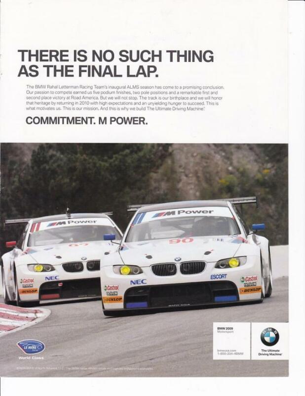 2010 BMW M Motorsports Print-Ad /  Great Art/ American Le Mans Series Letterman