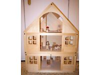 LARGE ELC Wooden Dolls House II and furniture for 6 rooms - Good Condition