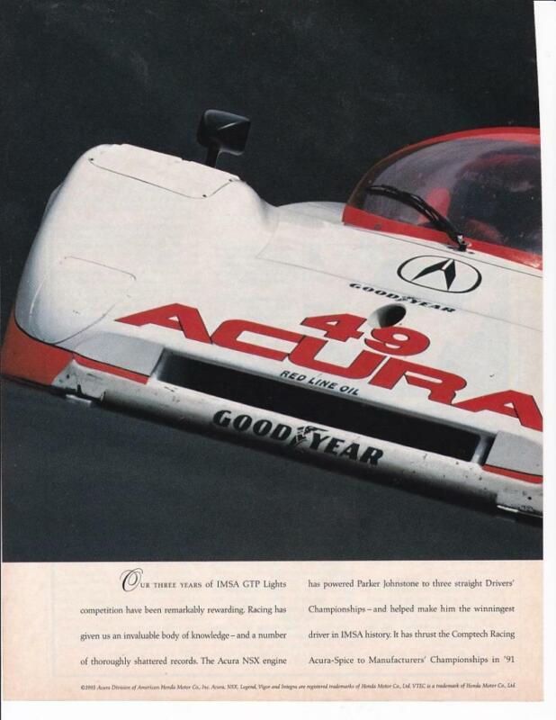 1993 Acura IMSA GTP 2 pg Print-Ad /  Parker Johnstone