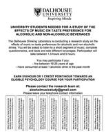 University students needed for a study of alcohol and music