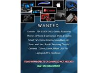 WANTED ELECTRONICS: CONSOLES, GAMES, PHONES, SMART TV'S & WATCHES, LAPTOPS, PC'S, HARDWARE, CAMERAS