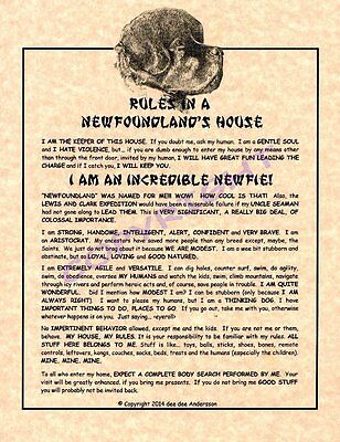 Rules In A Newfoundland's House