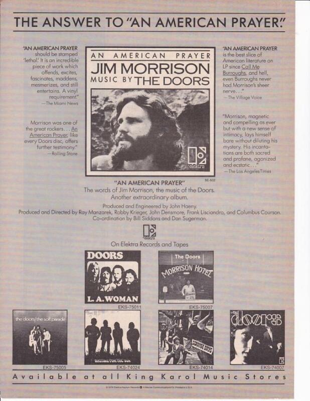 "1979 Jim Morrison Album Ad/ ""An American Prayer"" / The Doors Catalog"
