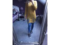 BNWT mustard distressed jumper fits up to size 14