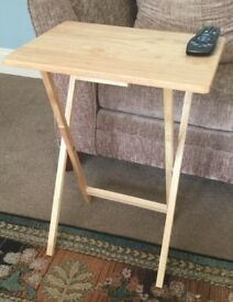 Handy Small Solid Pine Folding Table Folds Flat For Easy Storage Behind Sofa, Underbed etc.