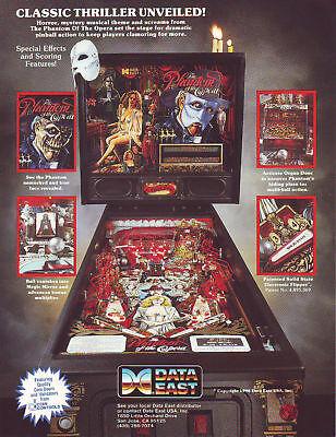 Phantom Of The Opera Pinball Machine Flyer NOS 1990 Horror Halloween Data East (Halloween Information)