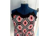 BNWT Yourstyle Ladies Black & Pink Strappy Aztec Pattern Jumpsuit. Size 20