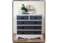 French Vintage Mid Century chest of drawers hand painted in Ash & Light Grey Fusion Mineral Paint