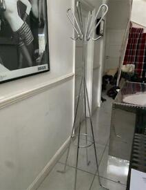 Contemporary stainless steel coat stand
